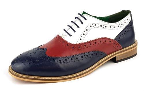 Frank James - Zeno Bordo / White / Navy Brogue Shoes